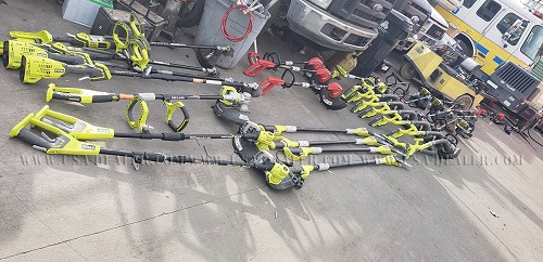 LOT OF RYOBI WEED EATERS AND TRIMMERS