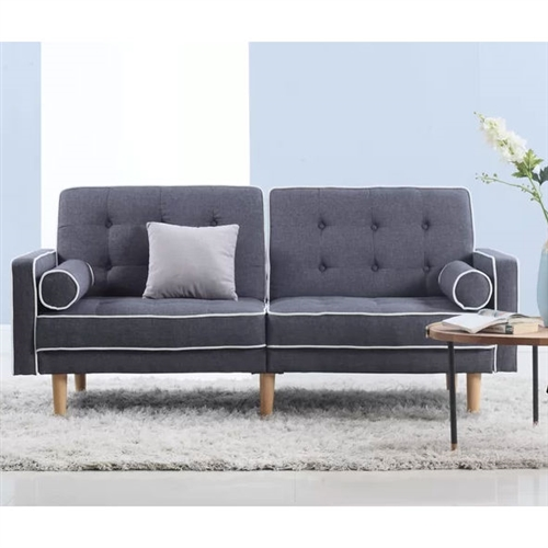 Dark Grey Linen Upholstered Sofa Bed Mid-Century Modern Classic.FF-5643444FS.