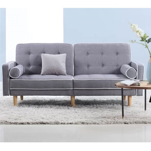 Light Grey Linen Upholstered Sofa Bed Modern Mid-Century Classic.FF-12344FS.