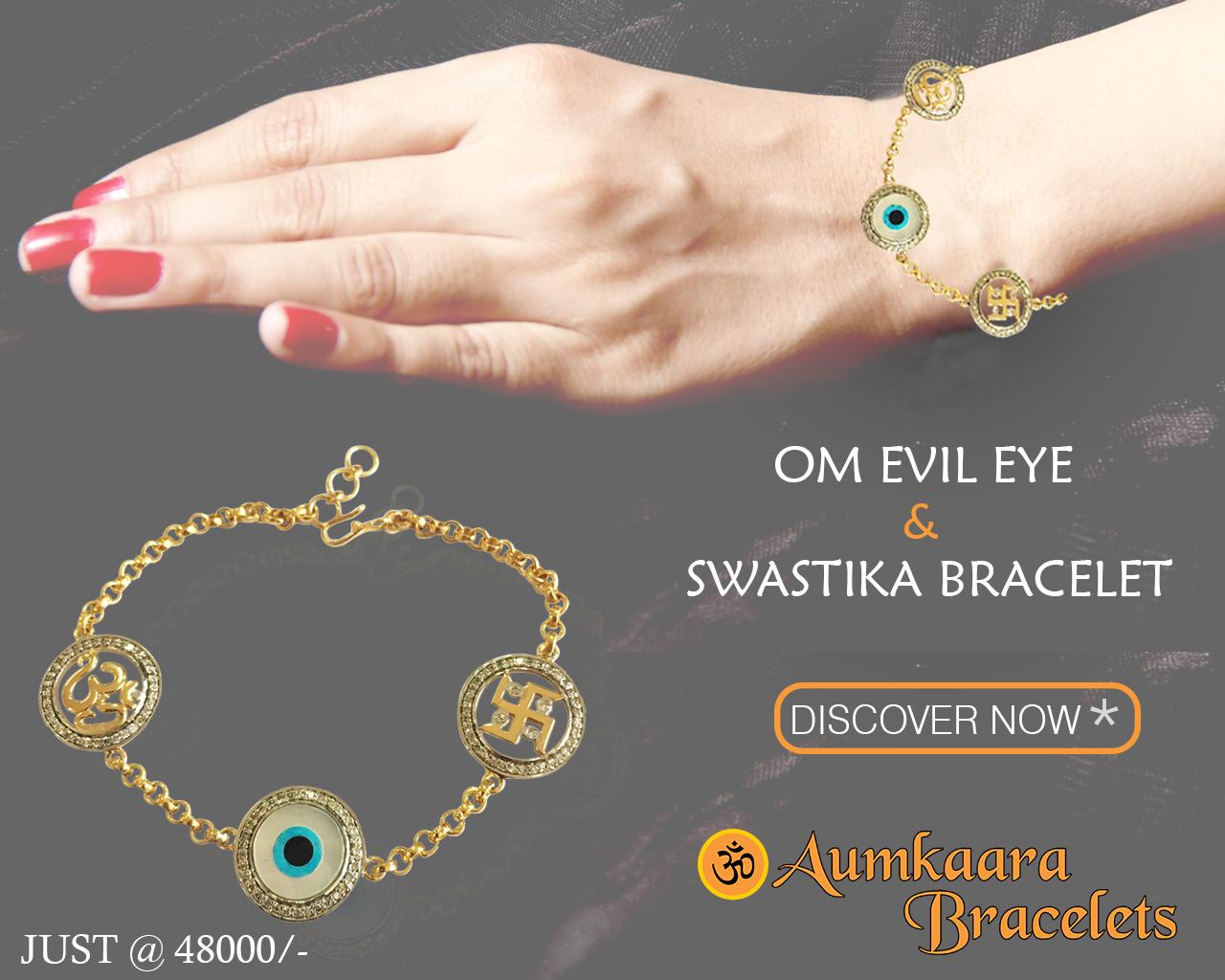 Auspicious Om Evil Eye And Swastika Bracelet In Gold With Diamonds