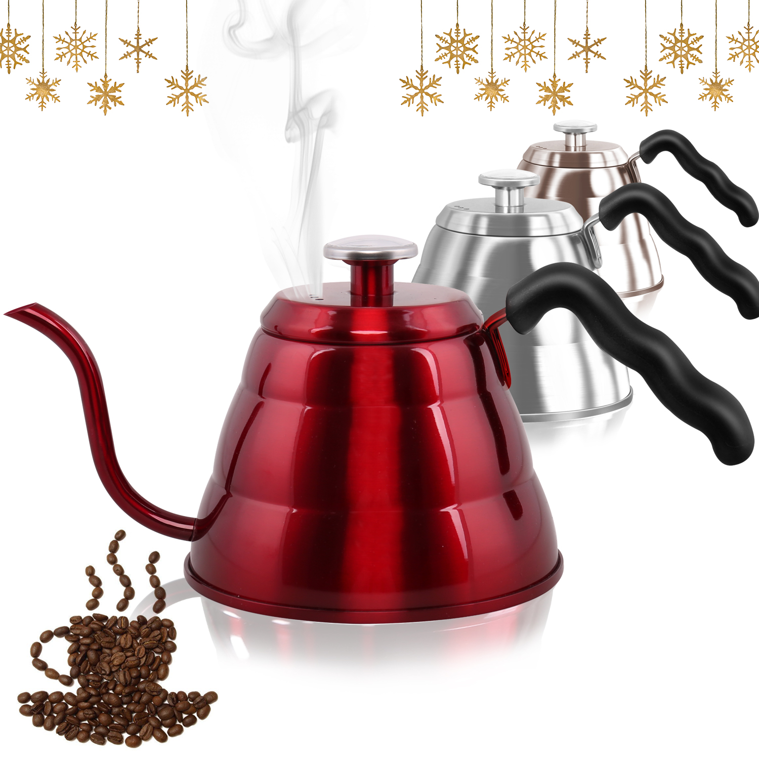 Stainless Steel Drip Coffee Kettle with Integrated Thermometer