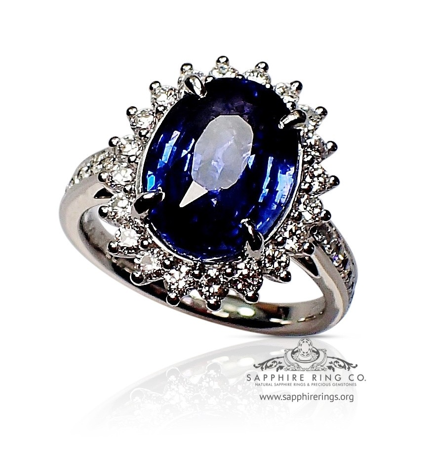 Sapphire Engagement Ring, GIA Platinum Natural Oval Cut