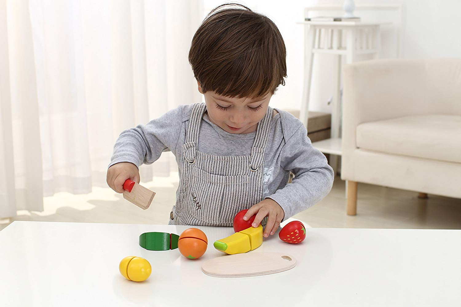 Wooden fruit cutting toy