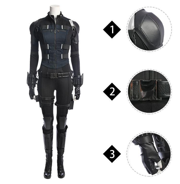 Infinity War Black Widow Natasha Romanoff Cosplay Costume Outfit