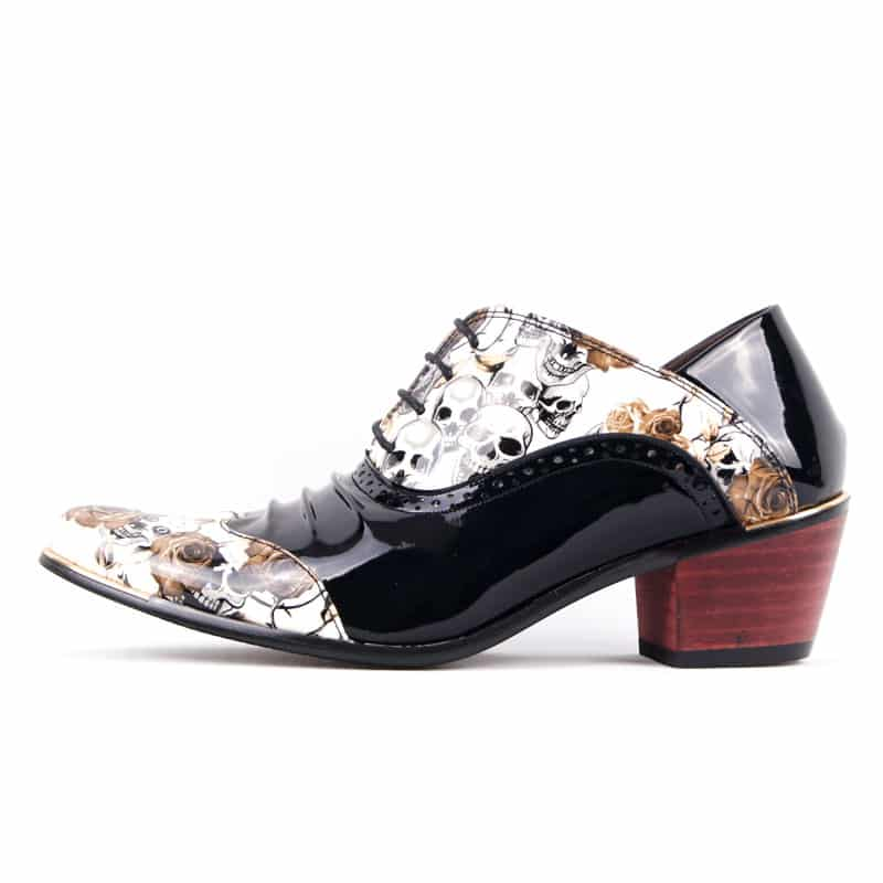 Floral Patent Leather Pointed Toe Men Dress Shoes
