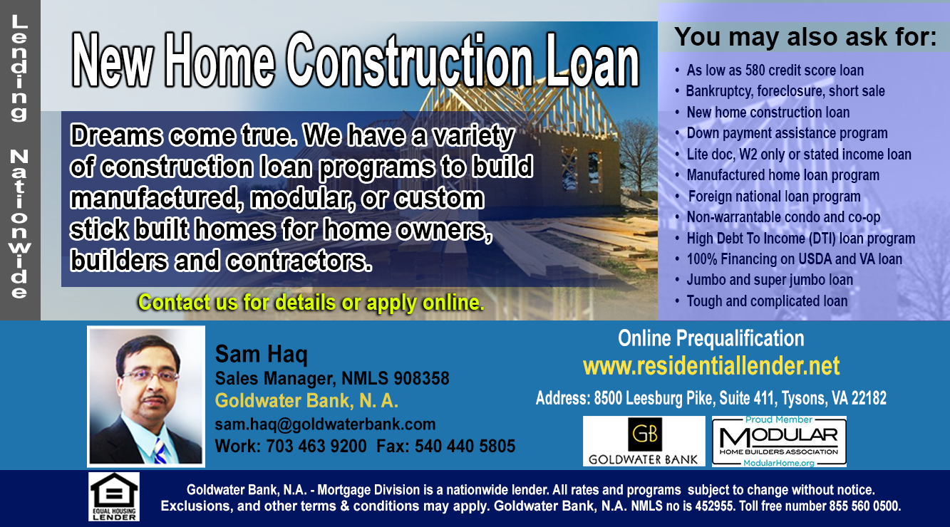 NEW HOME CONSTRUCTION LOANS- NATIONWIDE