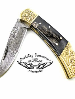 Folding Knife Buffalo Horn Brass Double Bloster