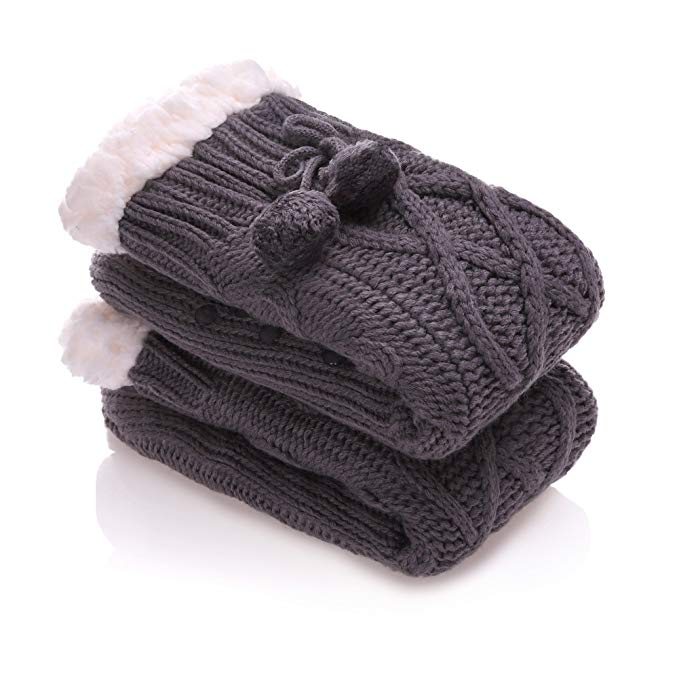 YEBING Women's Diamond Cable Knit Super Soft Warm Cozy Fuzzy Fleece-lined Winter Slipper Socks