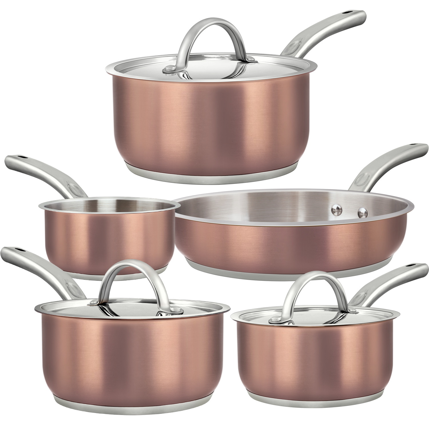 Tri-Ply Stainless Steel Non-Stick Pots and Pans Set with $10 Amazon Coupon