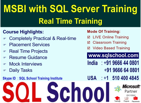 LIVE Online Training ON MSBI 2017 WITH PROJECT