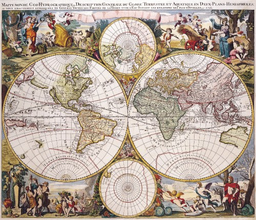 Antique Maps of the WorldDouble Hemisphere Polar MapGerard Valkc 1686
