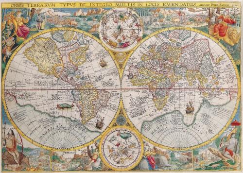 Antique Maps of the WorldDouble Hemisphere MapPetrus Planciusc 1599