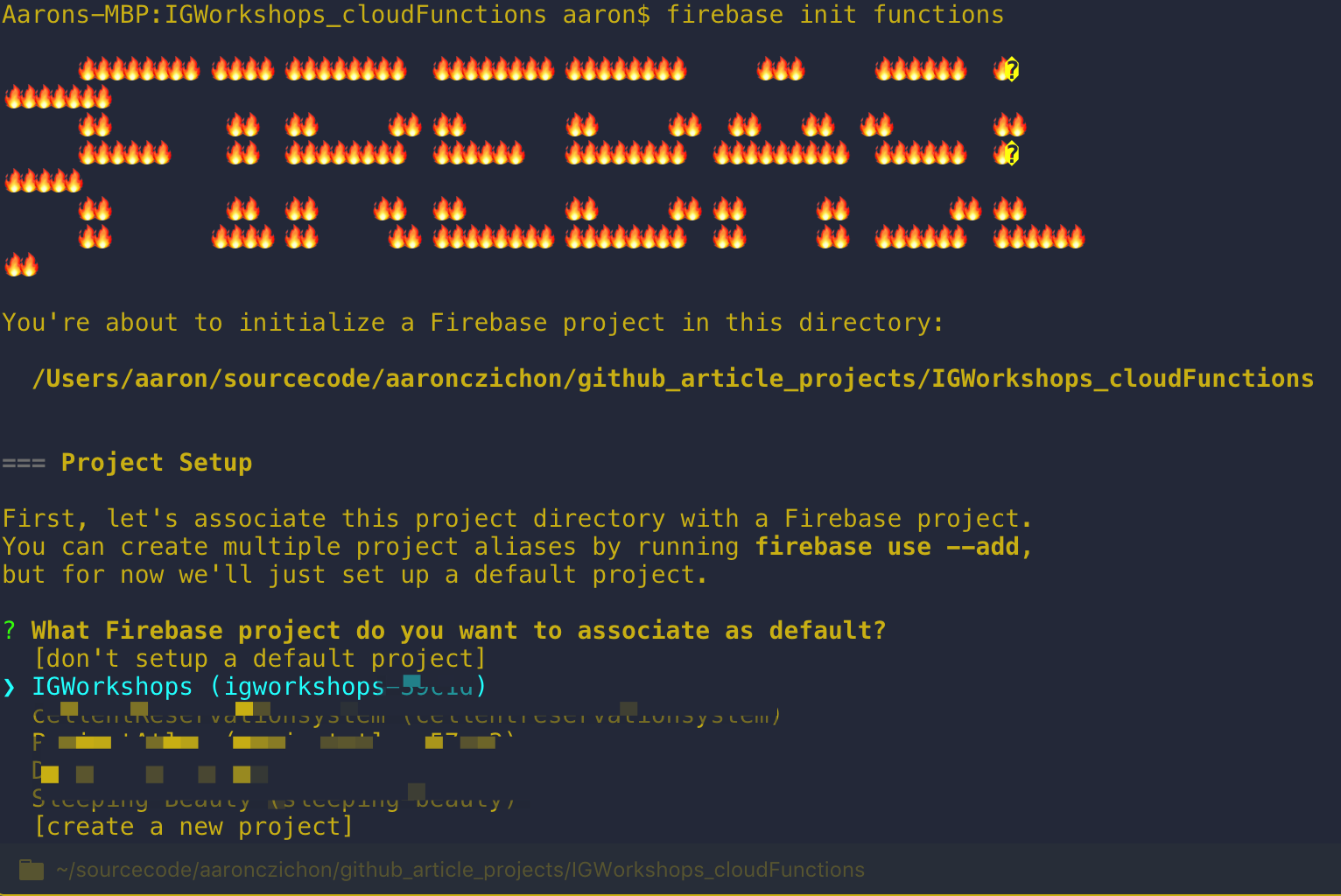 Select your Firebase project through the CLI