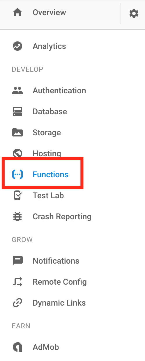 Cloud Functions for Firebase section in Firebase Console
