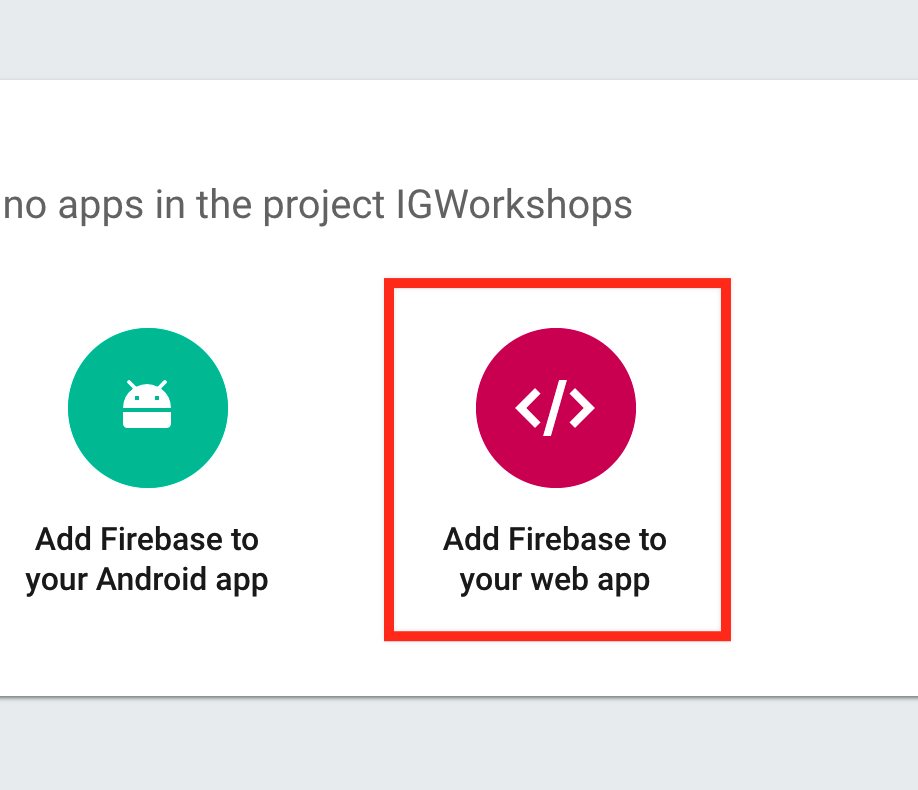 Add web to Firebase project