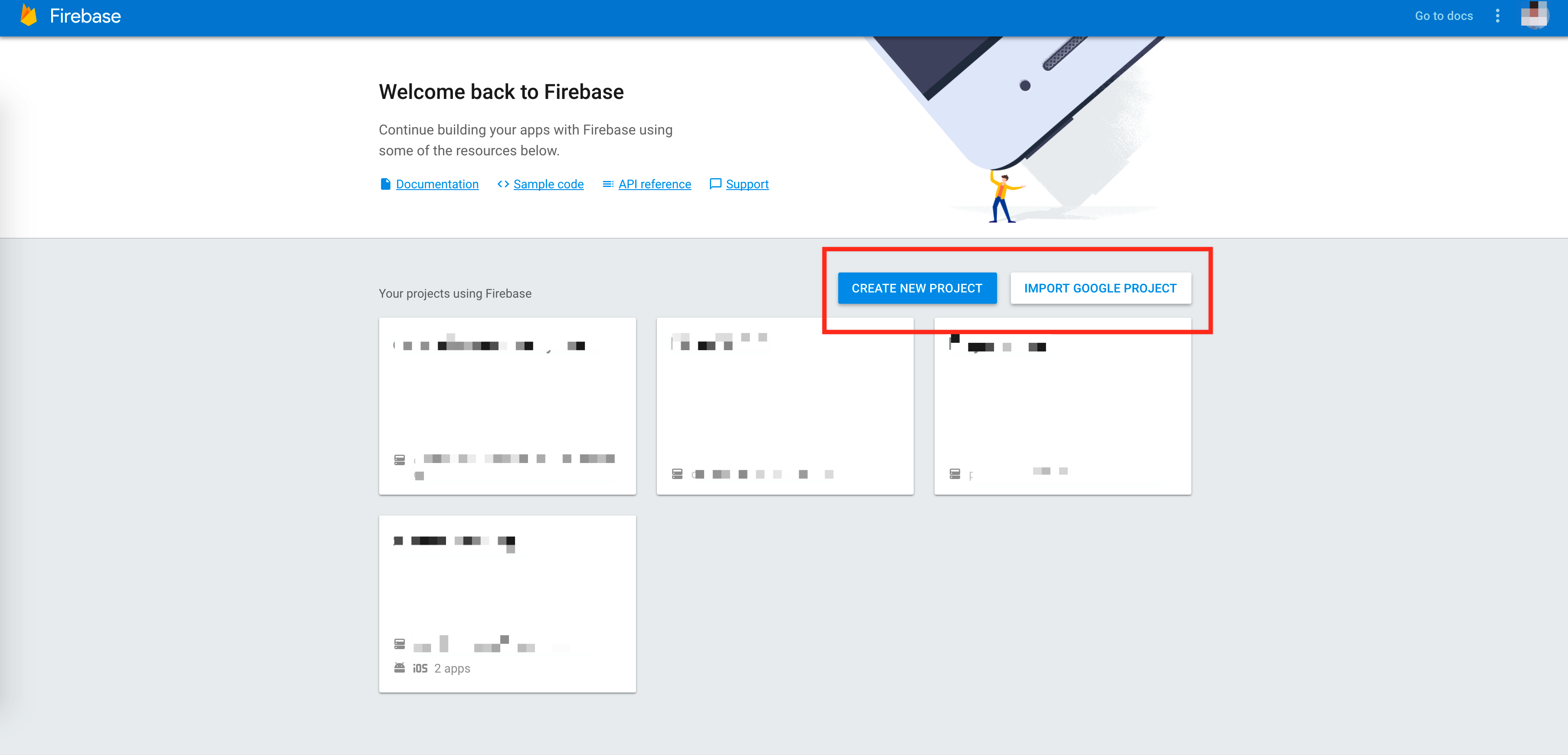 Create new Firebase project overview