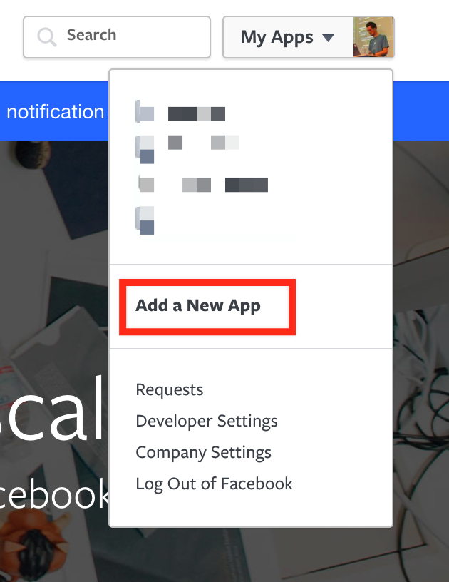Add new Facebook App