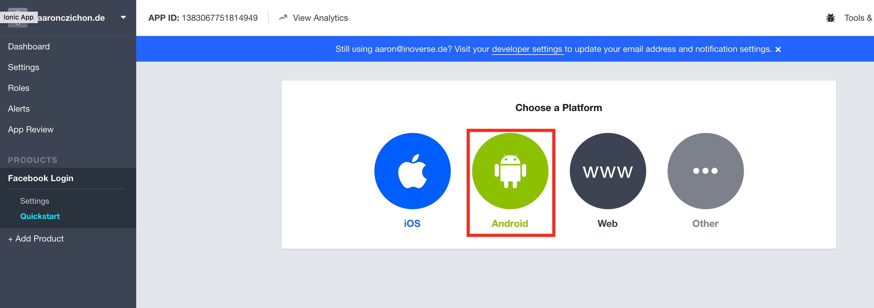 Facebook add Android Login platform