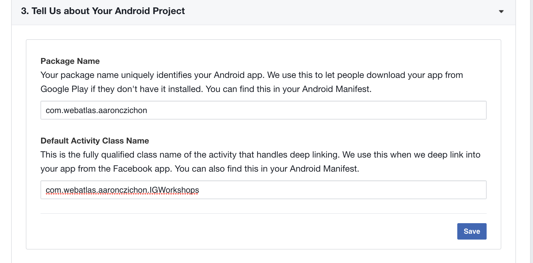 Facebook Android setup