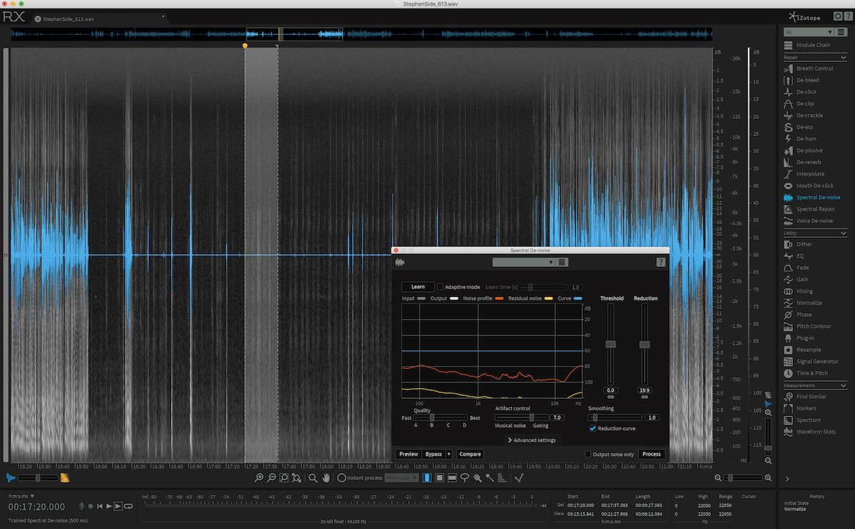 Spectral Denoise in iZotope RX 6