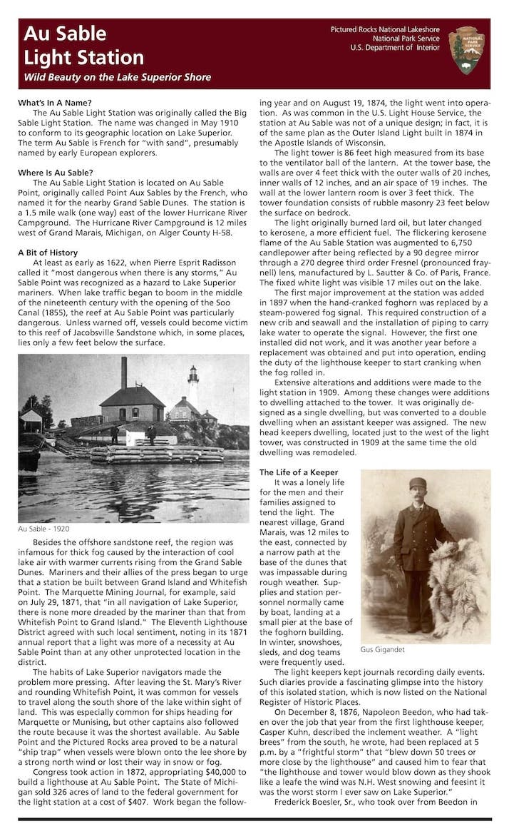 Preview image for Au Sable Light Station Brochure resource