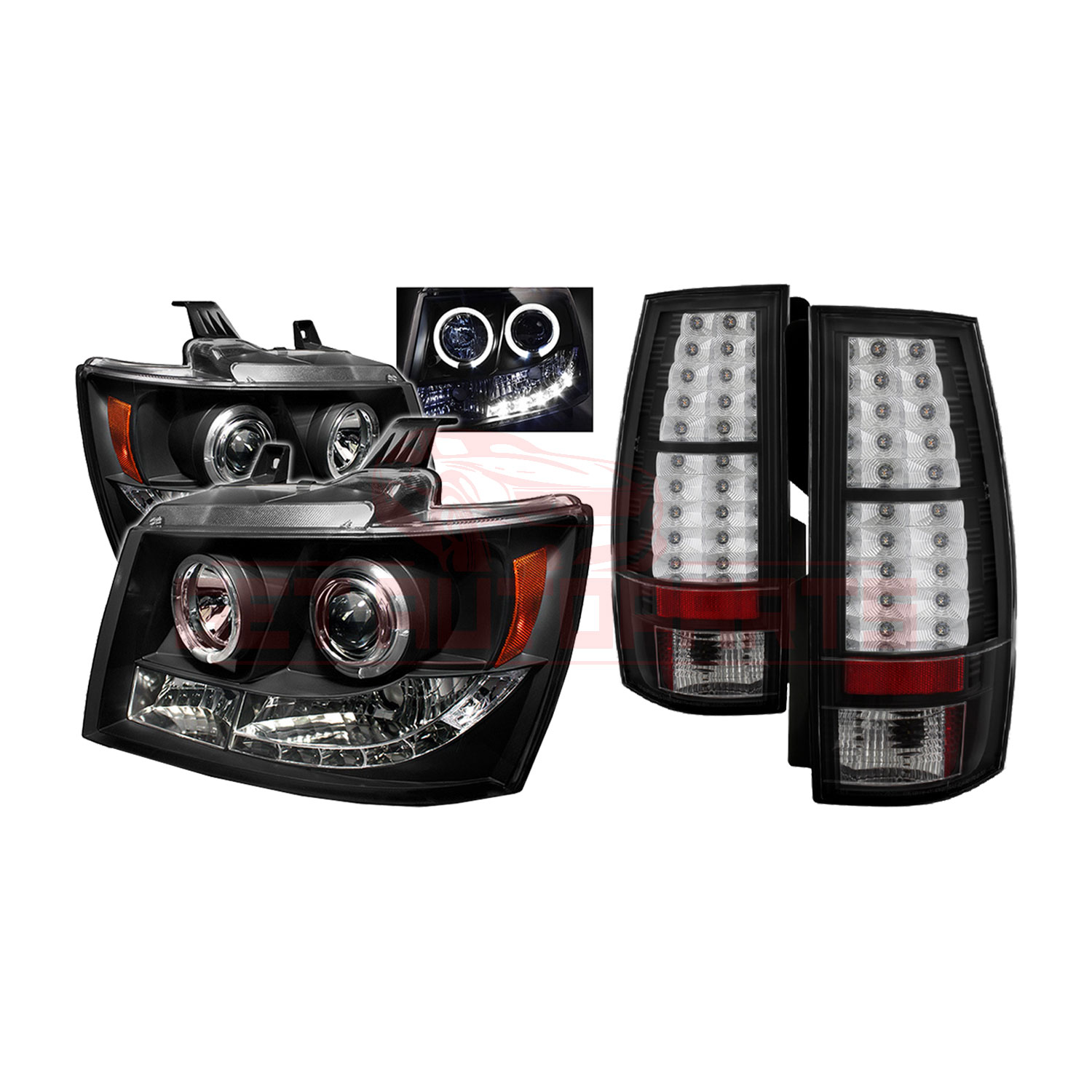 Spyder Halo LED Headlights & LED Tail Lights for Chevy Suburban/Tahoe 07-14 part in Headlight & Tail Light Covers category