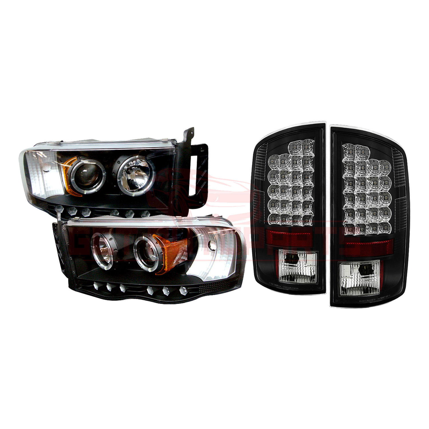 Spyder Halo LED Projector Headlights & LED Tail Lights for Dodge Ram 02-05 part in Headlight & Tail Light Covers category
