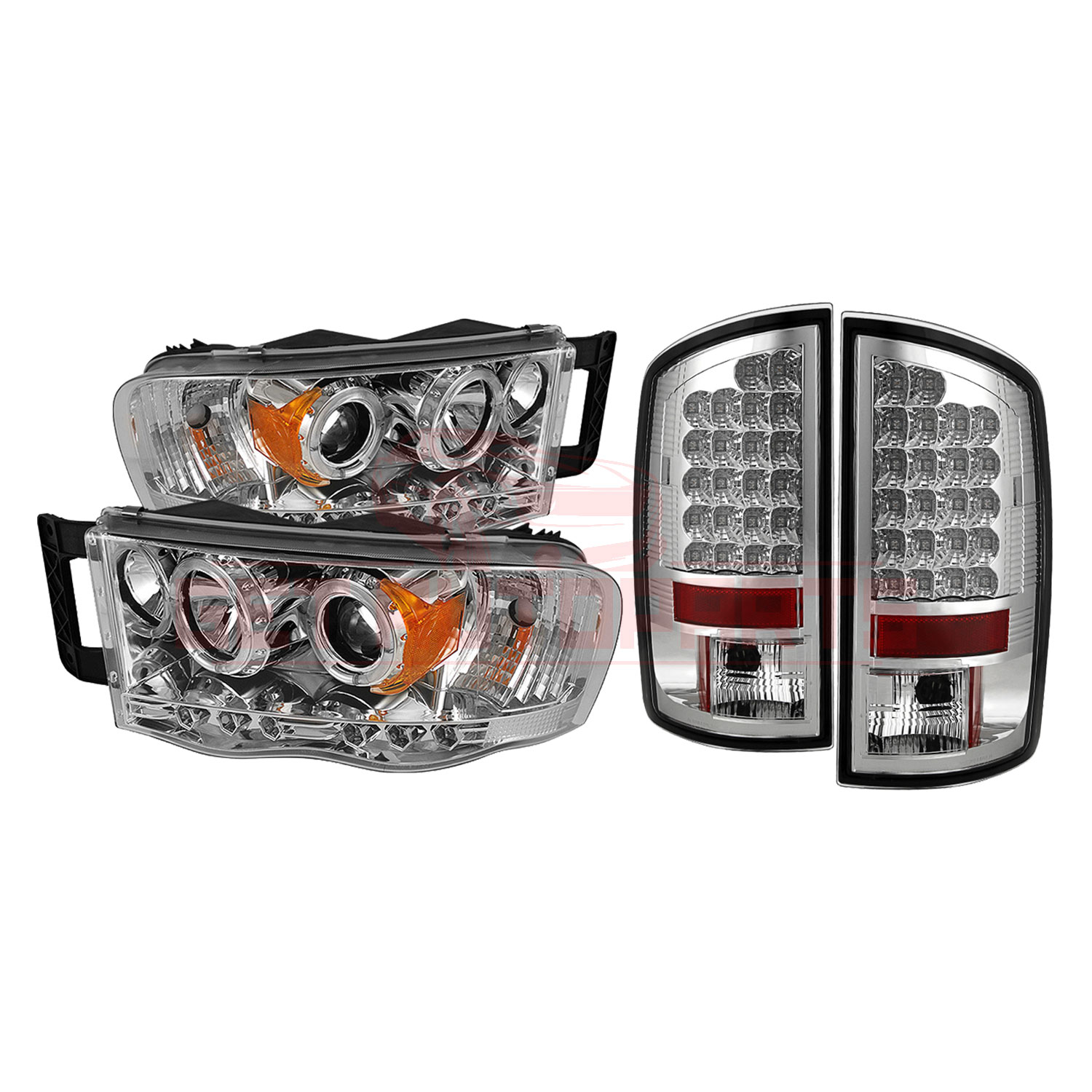 Spyder Halo LED Projector Headlights & LED Tail Lights - for Dodge Ram 02-05 part in Headlight & Tail Light Covers category
