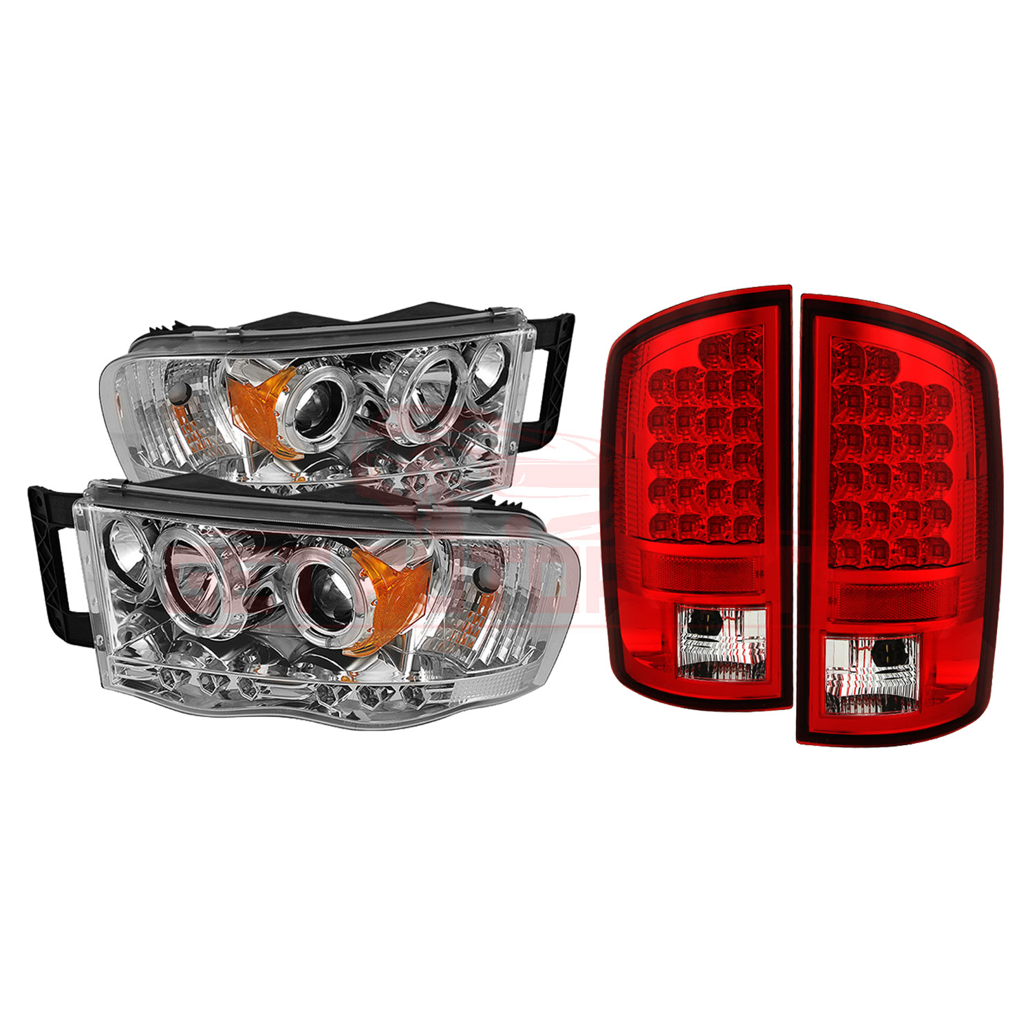 Spyder Halo LED Headlights & LED Tail Lights Red Clear - for Dodge Ram 02-05 part in Headlight & Tail Light Covers category