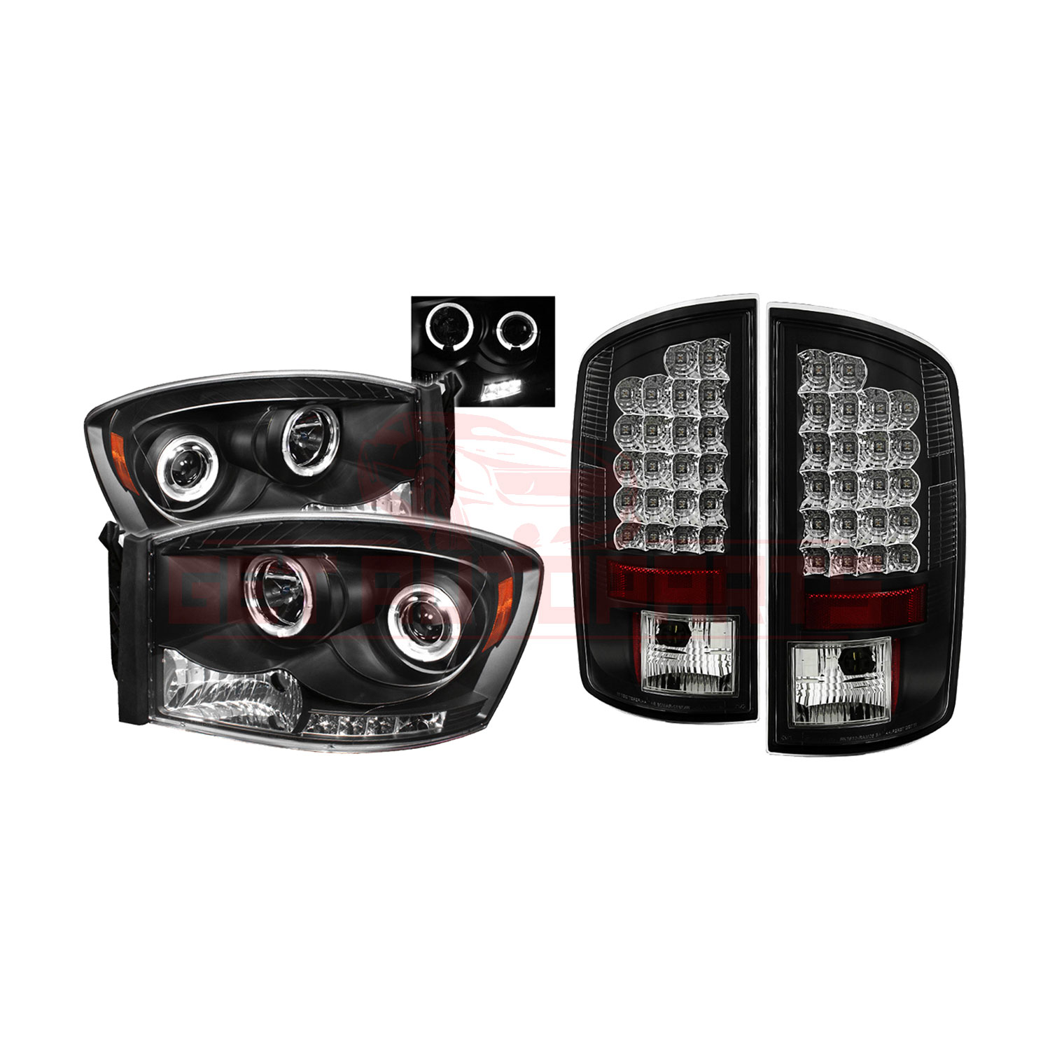 Spyder Halo LED Projector Headlights & LED Tail Lights for Dodge Ram 07-08 part in Headlight & Tail Light Covers category