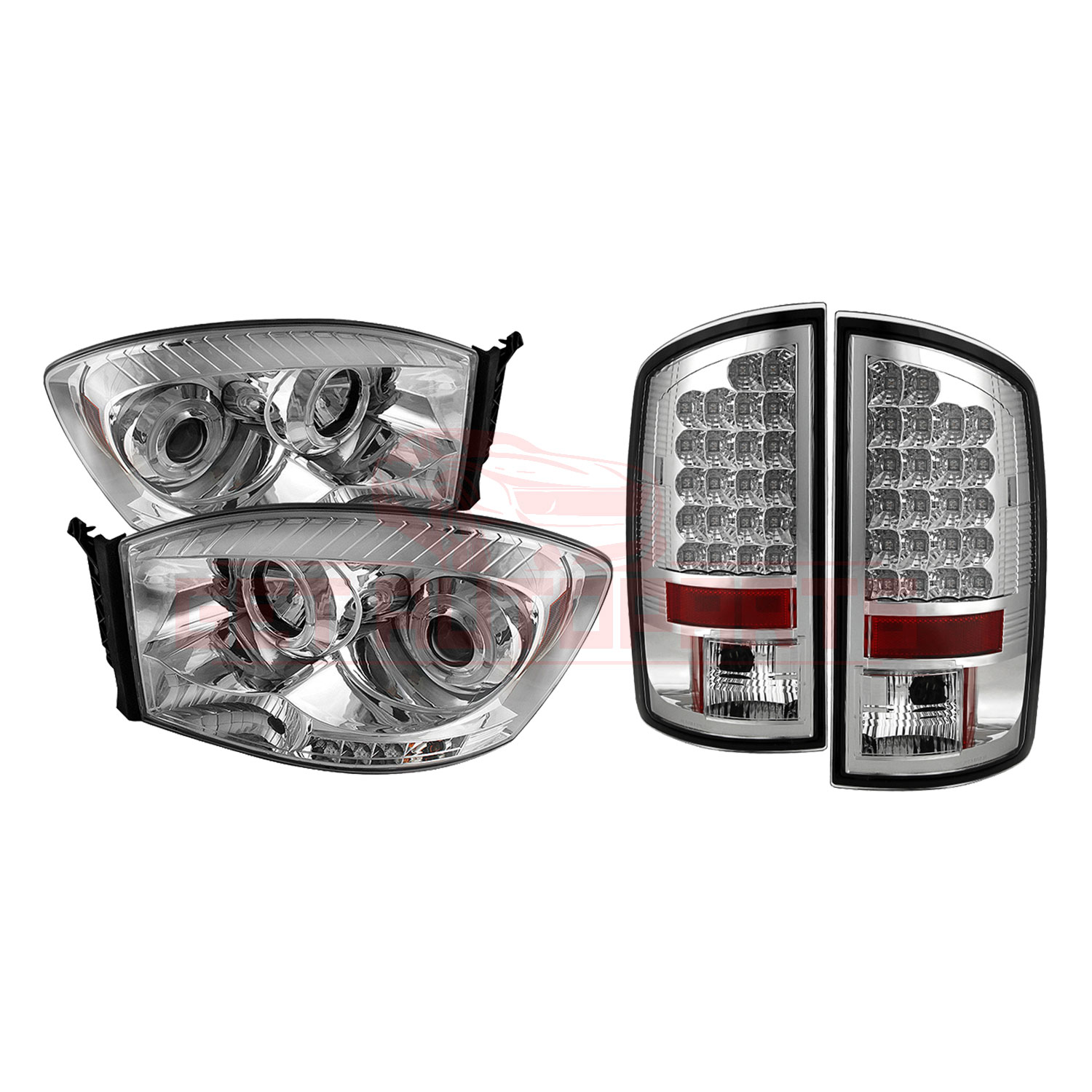 Spyder Halo LED Projector Headlights & LED Tail Lights - for Dodge Ram 07-08 part in Headlight & Tail Light Covers category