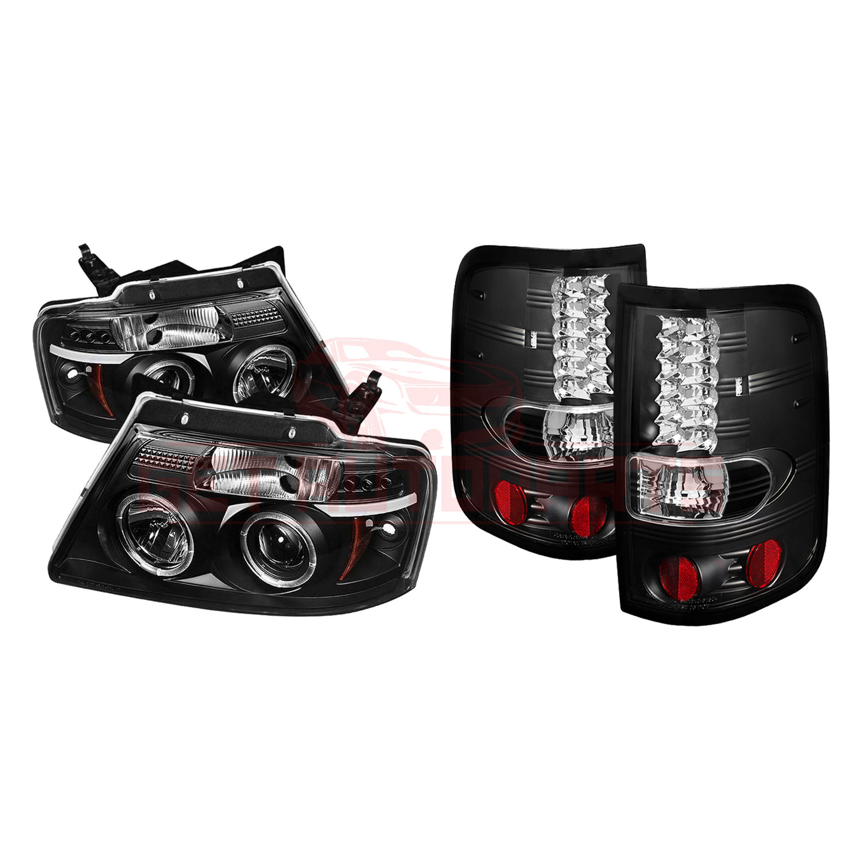 Spyder Halo LED Proj Headlights & LED Tail Lights Blk for Ford F150 04-08 part in Headlight & Tail Light Covers category