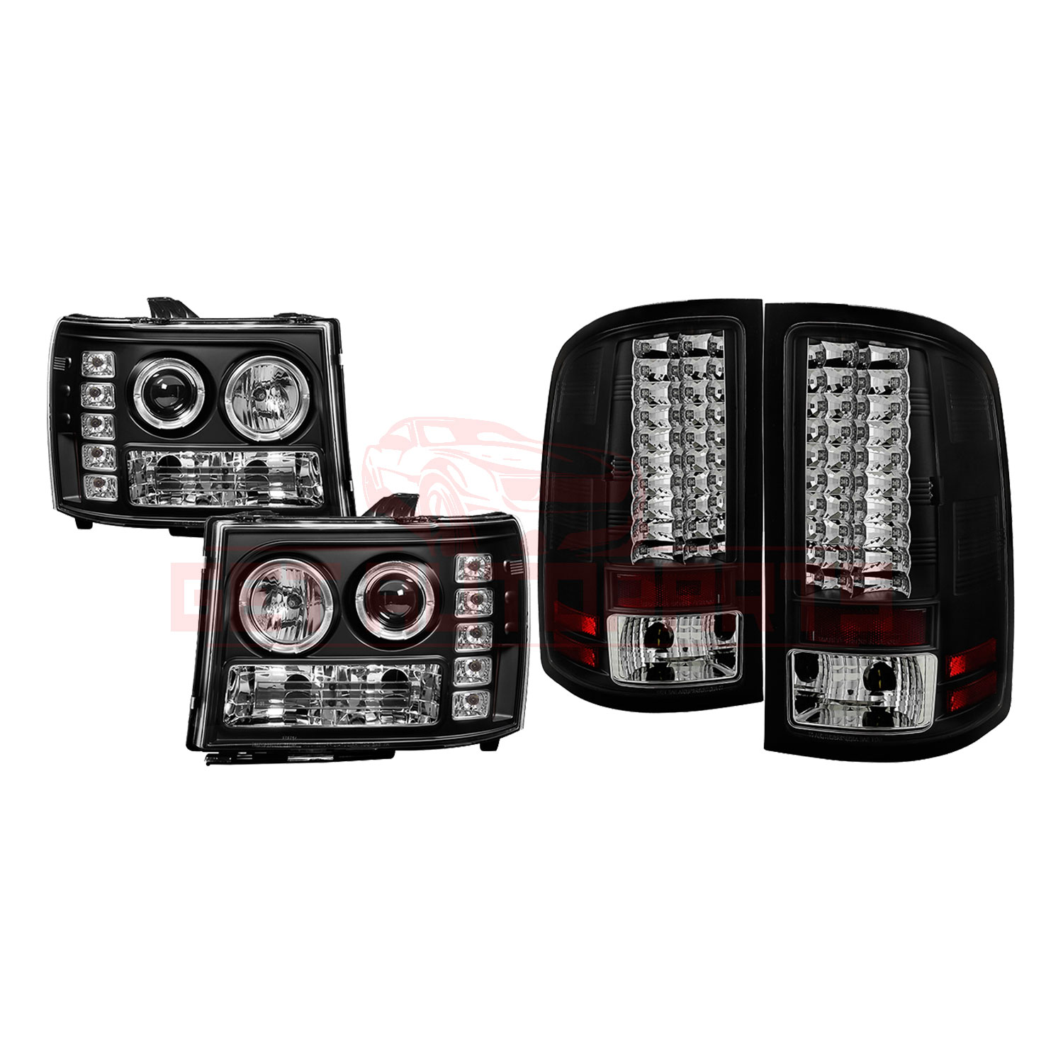 Spyder Halo LED Headlights & TailLights Blk GMC Sierra 1500 07-13, 2500HD/3500HD part in Headlight & Tail Light Covers category
