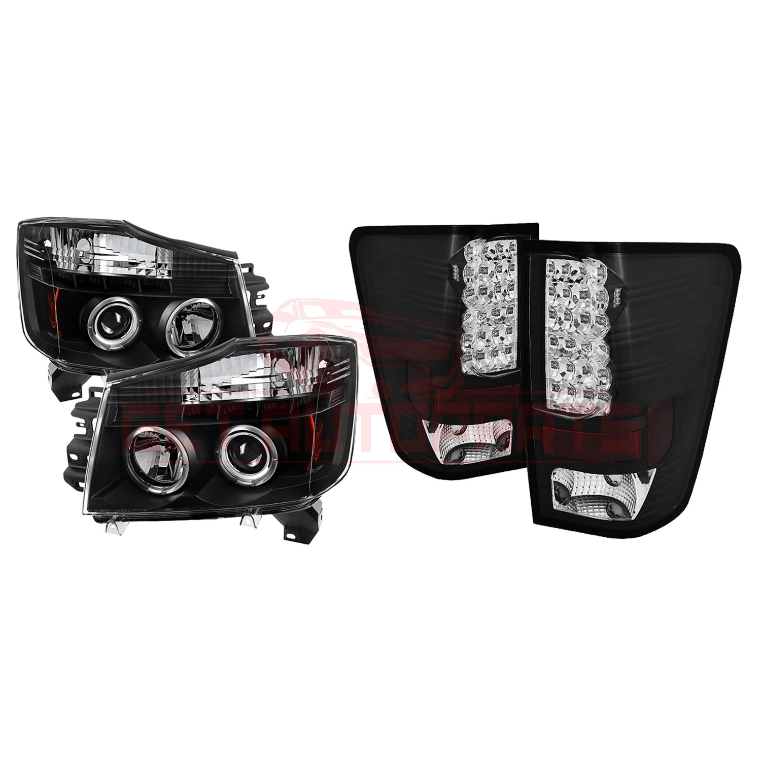 Spyder Halo LED Projec Headlights & LED Tail Lights For Nissan Titan 04-15 part in Headlight & Tail Light Covers category