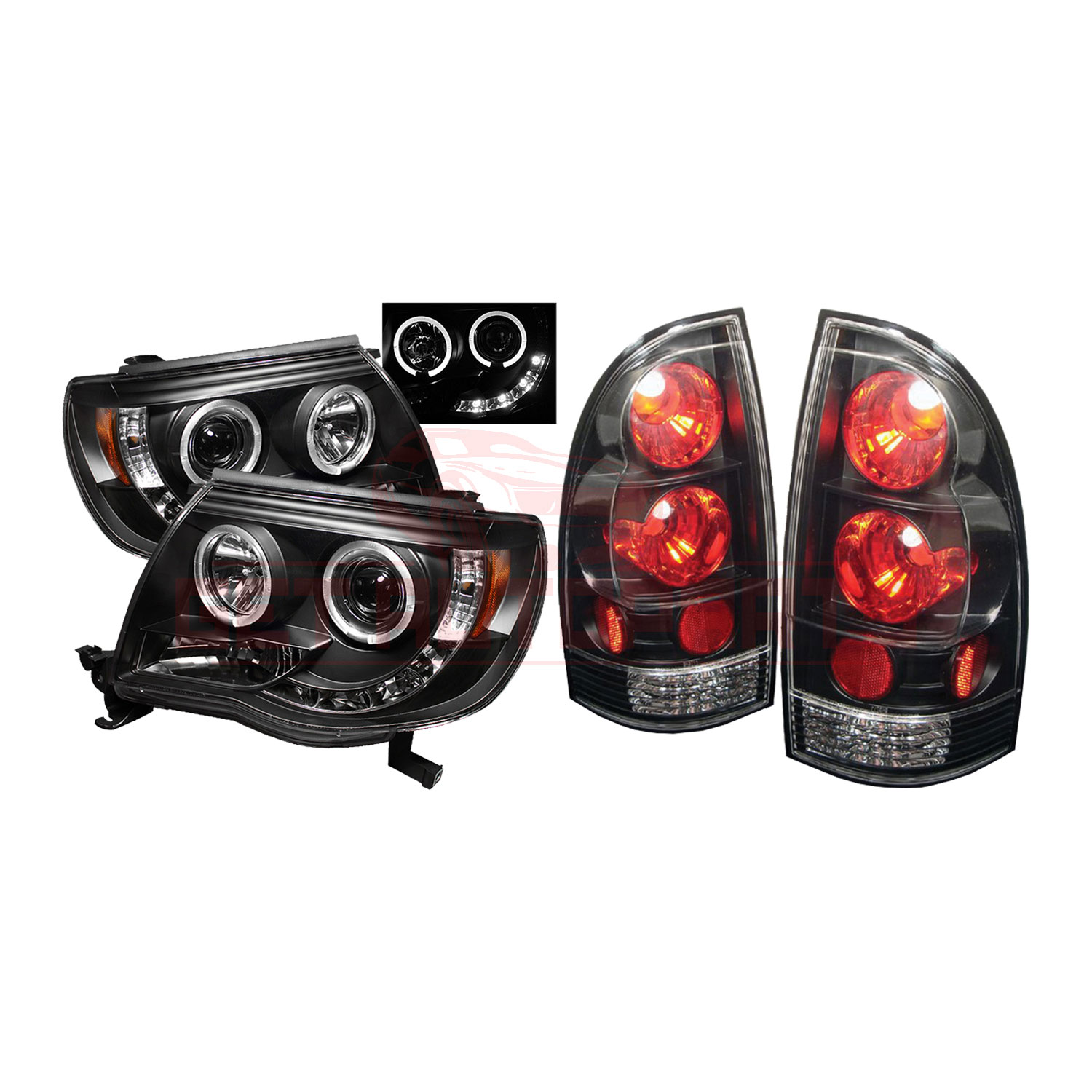 Spyder Halo LED Projector Headlights & Tail Lights Black for Toyota Tacoma 05-11 part in Headlight & Tail Light Covers category