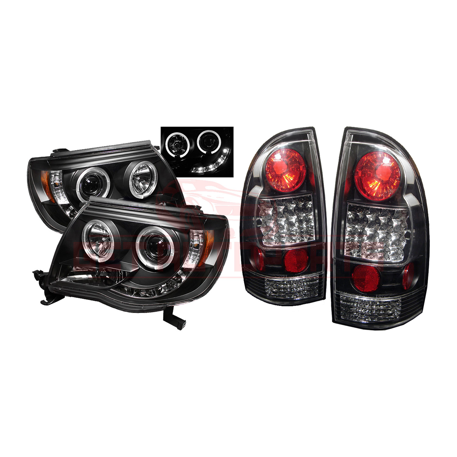 Spyder Halo LED Projector Headlights & LED Tail Lights Black Toyota Tacoma 05-11 part in Headlight & Tail Light Covers category