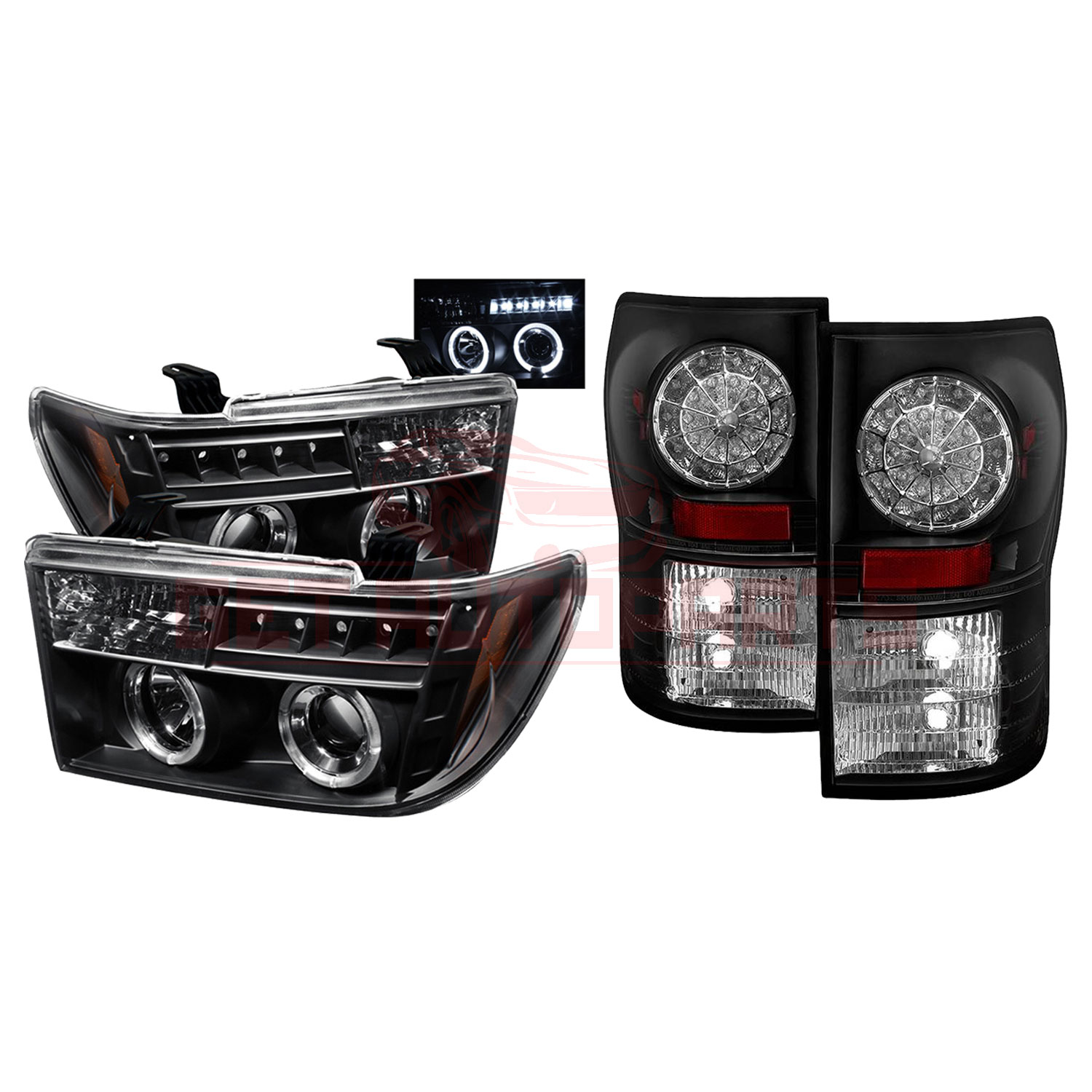 Spyder Halo LED Projector Headlights & LED Tail Lights Black Toyota Tundra 07-13 part in Headlight & Tail Light Covers category