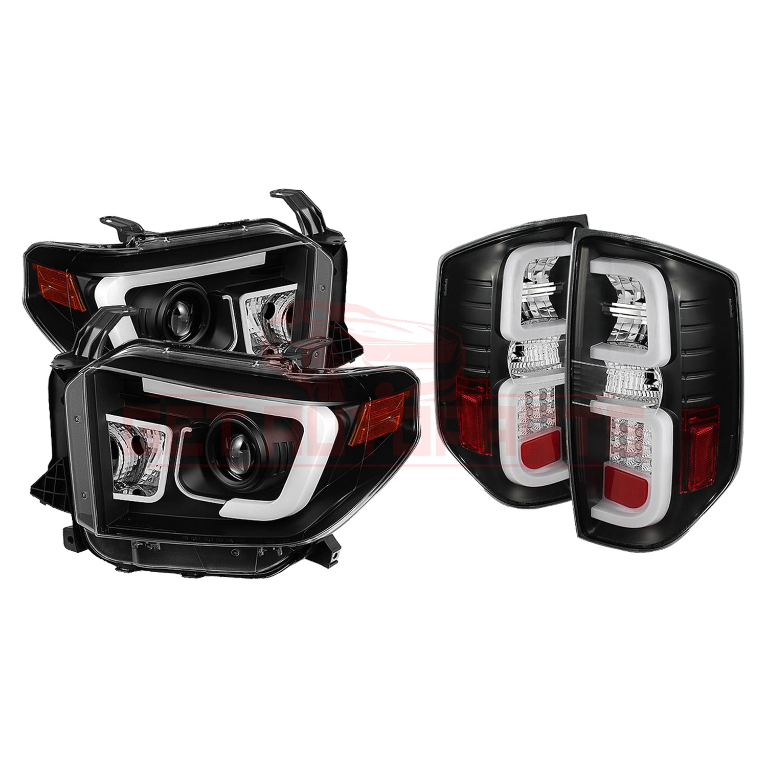 Spyder DRL Projector Headlights & LED Tail Lights Black Toyota Tundra 2014-2016 part in Headlight & Tail Light Covers category