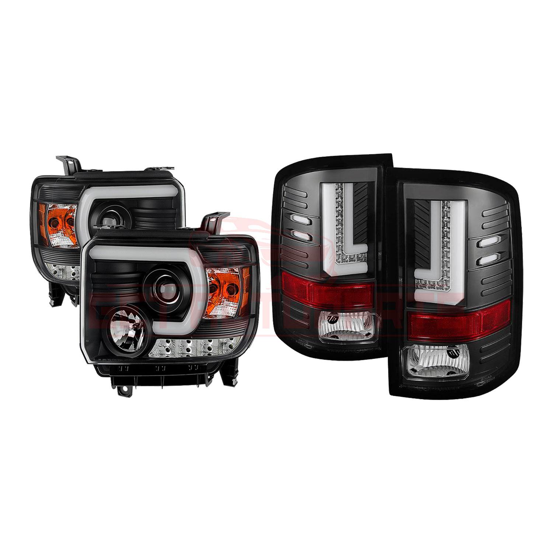Spyder Project Headlights & Tail Lights Blk GMC Sierra 1500 14-15, 2500HD/3500HD part in Headlight & Tail Light Covers category