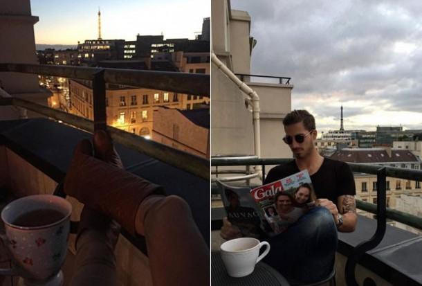 Izabel e Kevin: mesma varanda, mesmo dia, momentos diferentes (Foto: Reprodução do Instagram/Montagem)