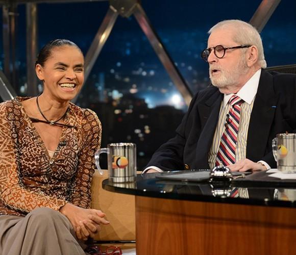 Jô Soares entrevista Marina Silva no primeiro programa da última temporada no ar (Foto: Divulgação)
