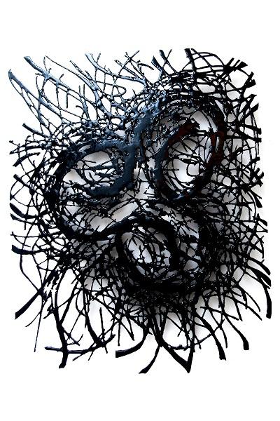 Carlos Vergara_ Sem título_ 2016_Asfalto e resina sobre MDF_ 135 X 110 cm