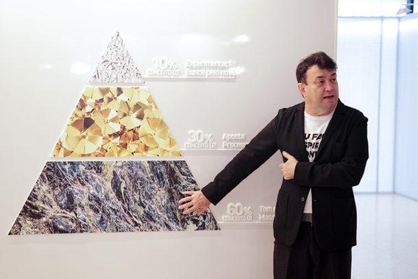 Walter Rodrigues explica a pirâmide (Foto: Divulgação)