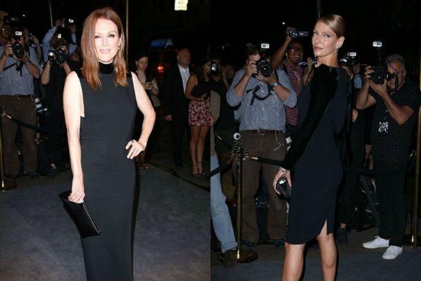 Julianne Moore e Uma Thurman com modelitos da nova coleção (Foto: Divulgação)