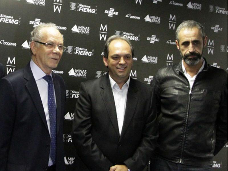Afonso Gonzaga (FIEMG), Luciano Araujo (Sindvest) e Pedro Lázaro (Minas Trend) (Foto: Henrique Fonseca)