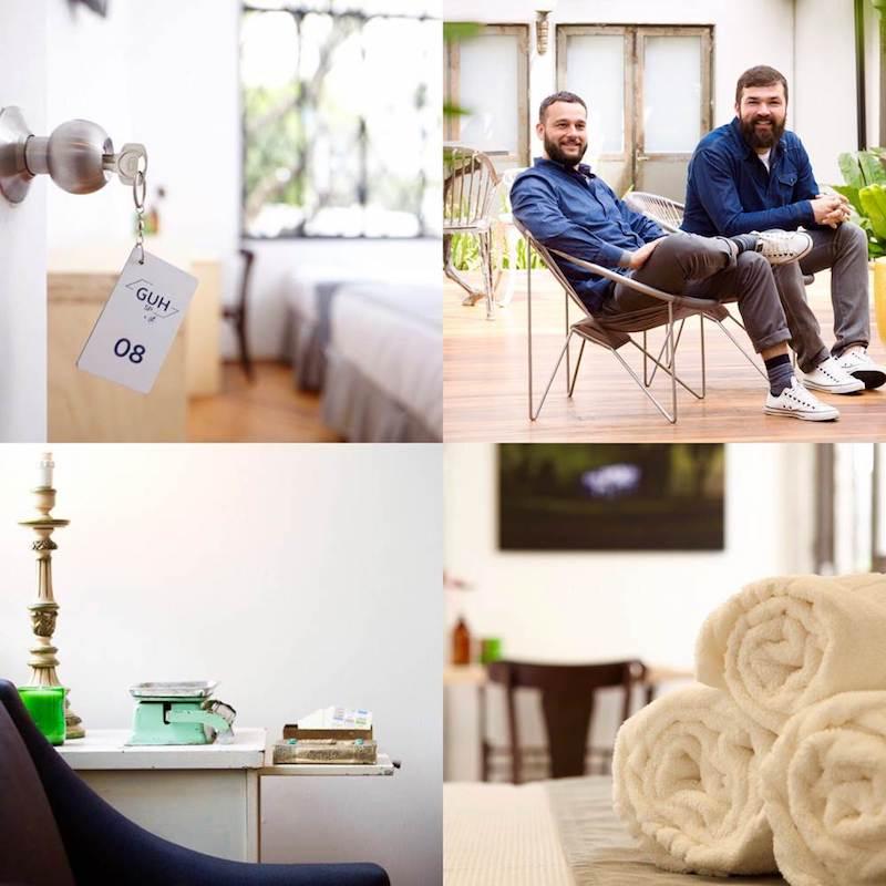 Detalhes da ambientação do hotel e proprietários Demian e Fabio