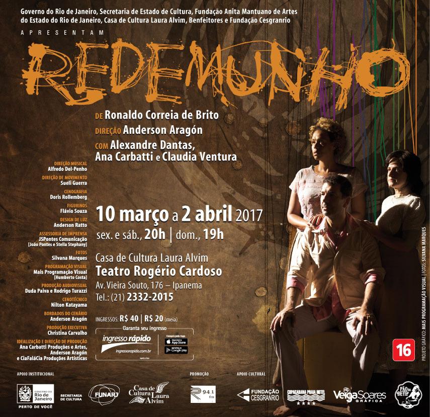 """Agenda Cultural: Depois de cinco anos de pesquisa, a peça """"Redemunho"""" estreia essa sexta na Casa de Cultura Laura Alvim"""