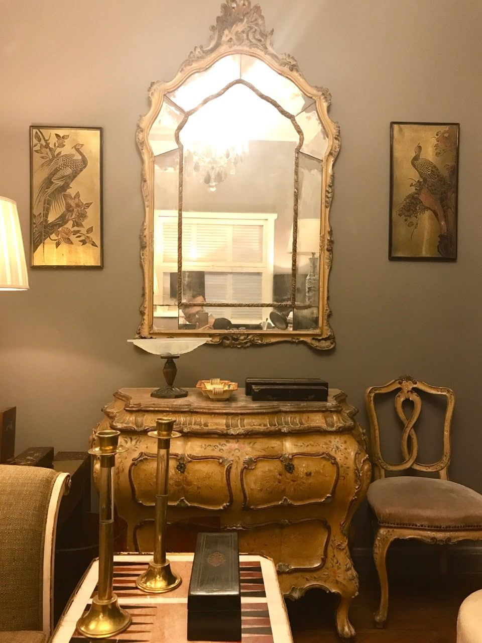 Comoda , espelho e cadeira venezianas no estilo Neo Rococó Itália final sec XIX