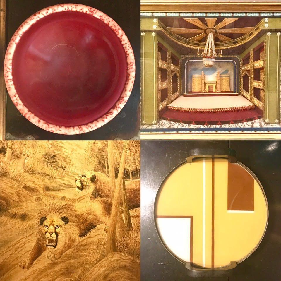 Centro de mesa Paul Millet Vermelho França anos 30 / Backlight de teatro França anos 40 / Bandeja Bauhaus / Bordado era Meiji Japão sec XIX