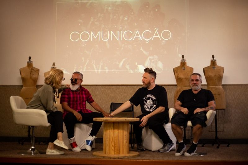 Os coaches do projeto SENAI Brasil Fashion, Lenny Niemeyer, Ronaldo Fraga, Alexandre Herchcovitch e Lino Villaventura (Foto: Rafael Aguiar)